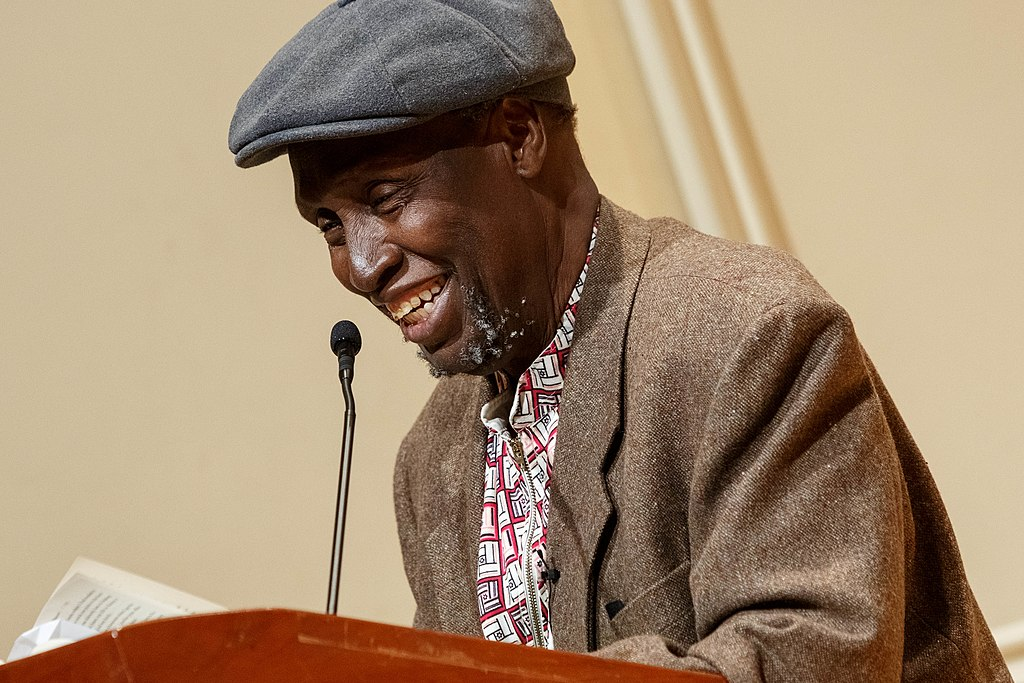 Renowned Kenyan writer Ngũgĩ wa Thiong'o reads excerpts from his recent work in both Gikuyu and English during a presentation in the Coolidge Auditorium, May 9, 2019. Photo by Shawn Miller/Library of Congress...Note: Privacy and publicity rights for individuals depicted may apply.