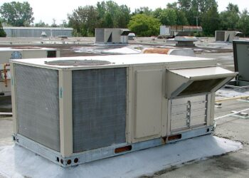 Rooftop HVAC unit with view of fresh-air intake vent