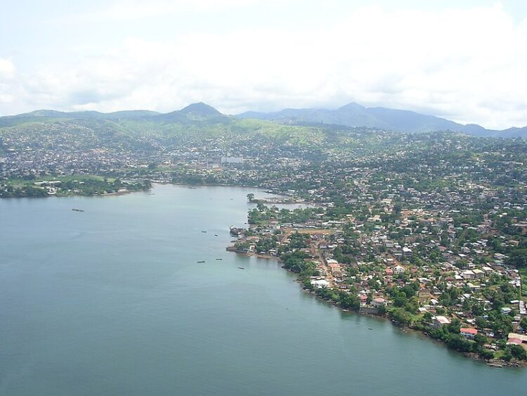 Aerial view of Freetown, Sierra Leone, a helicopter expedition to Lungii airport, over the Freetown Harbour.